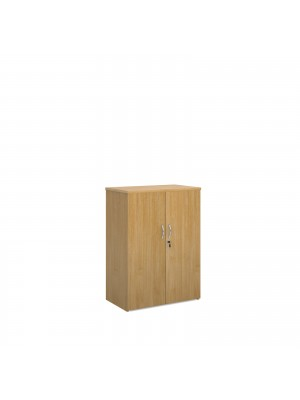 Universal double door cupboard 1090mm high with 2 shelves - oak