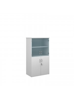 Duo combination unit with glass upper doors 1440mm high with 3 shelves - white