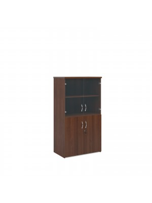 Universal combination unit with glass upper doors 1440mm high with 3 shelves - walnut