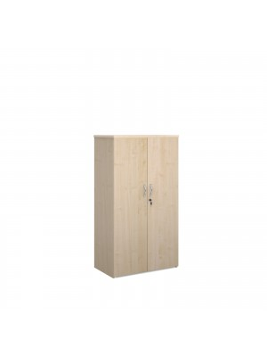 Universal double door cupboard 1440mm high with 3 shelves - maple
