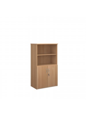 Universal combination unit with open top 1440mm high with 3 shelves - beech