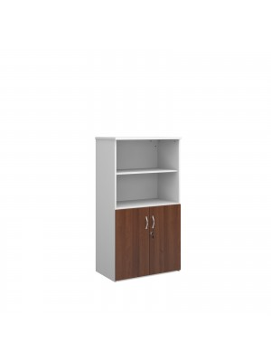 Universal combination unit with open top 1440mm high with 3 shelves - white with walnut lower doors