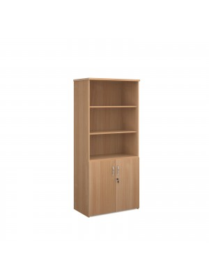 Universal combination unit with open top 1790mm high with 4 shelves - beech