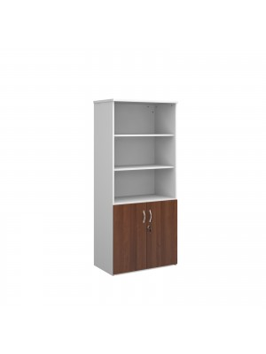 Universal combination unit with open top 1790mm high with 4 shelves - white with walnut lower doors