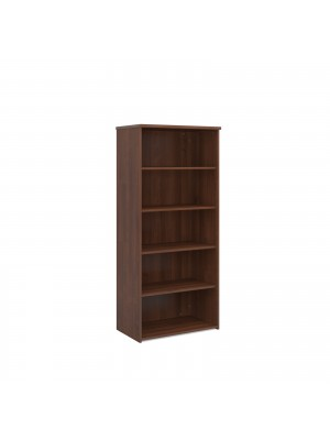 Universal bookcase 1790mm high with 4 shelves - walnut