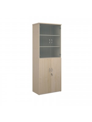 Universal combination unit with glass upper doors 2140mm high with 5 shelves - maple