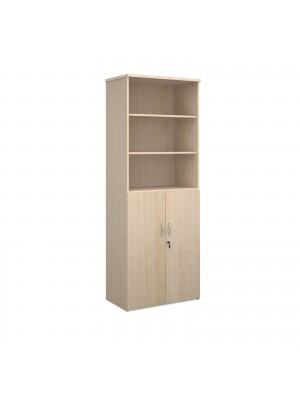 Universal combination unit with open top 2140mm high with 5 shelves - maple