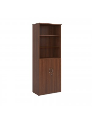 Universal combination unit with open top 2140mm high with 5 shelves - walnut