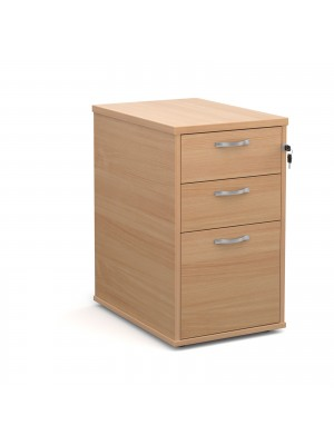 Desk high 3 drawer pedestal with silver handles 600mm deep - beech