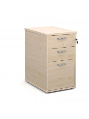 Desk high 3 drawer pedestal with silver handles 600mm deep - maple