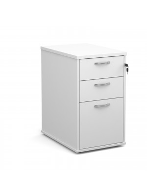 Desk high 3 drawer pedestal with silver handles 600mm deep - white