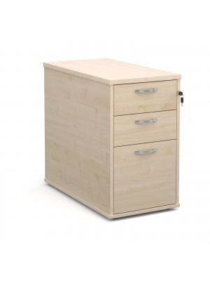 Desk high 3 drawer pedestal with silver handles 800mm deep - maple