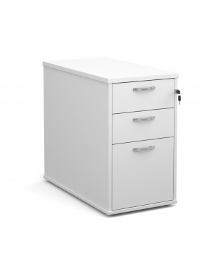Desk high 3 drawer pedestal with silver handles 800mm deep - white