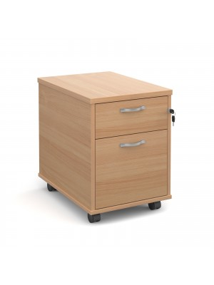 Mobile 2 drawer pedestal with silver handles 600mm deep - beech