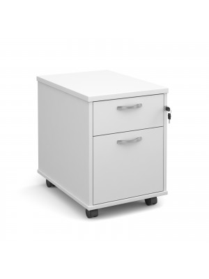Mobile 2 drawer pedestal with silver handles 600mm deep - white