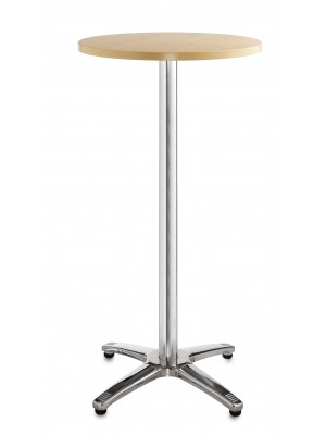 Roma circular poseur table with 4 leg chrome base 600mm - beech