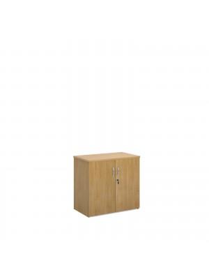 Universal double door cupboard 740mm high with 1 shelf - oak