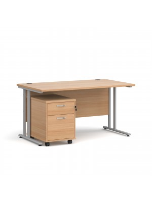 Maestro 25 straight desk 1400mm x 800mm with silver cantilever frame and 2 drawer pedestal - beech