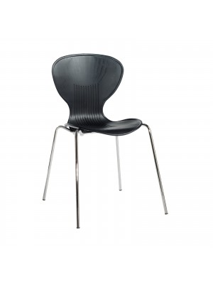 Sienna one piece shell chair (pack of 4) with chrome legs - black