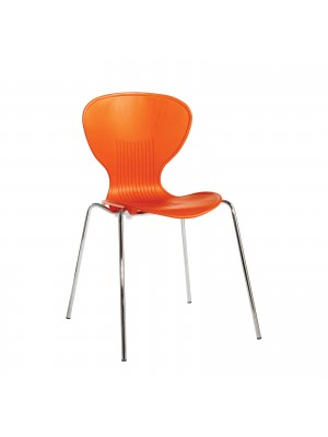 Sienna one piece shell chair with chrome legs (pack of 4) - orange