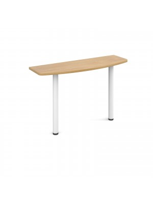 D-end desk extension table 1200mm wide with white legs - oak top