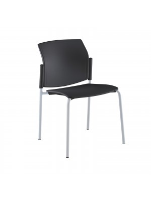 Santana 4 leg stacking chair with plastic seat and back, grey frame and no arms - black