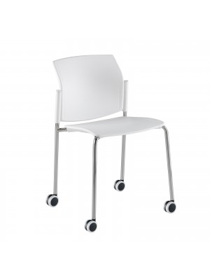 Santana 4 leg mobile chair with plastic seat and back, chrome frame with castors and no arms - white