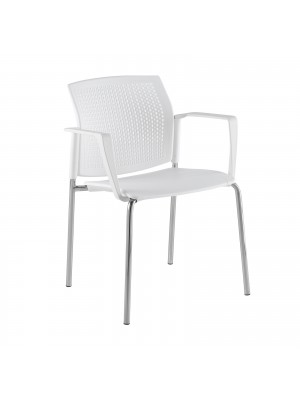 Santana 4 leg stacking chair with plastic seat and perforated back, grey frame with arms and writing tablet - white