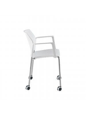Santana 4 leg mobile chair with plastic seat and perforated back, chrome frame with castors and fixed arms - black