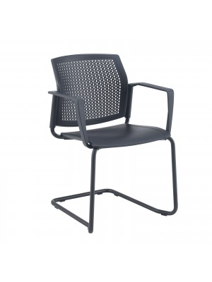 Santana cantilever chair with plastic seat and perforated back, black frame with arms and writing tablet - white