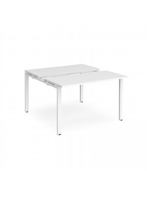 Adapt II sliding top back to back desks 1200mm x 1200mm - white frame, white top