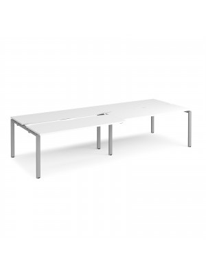 Adapt sliding top double back to back desks 3200mm x 1200mm - silver frame, white top