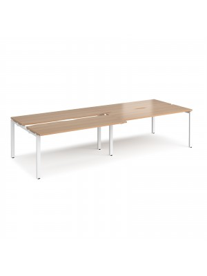 Adapt sliding top double back to back desks 3200mm x 1200mm - white frame, beech top