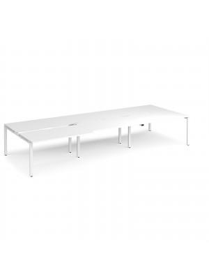 Adapt II sliding top triple back to back desks 4200mm x 1600mm - white frame, white top