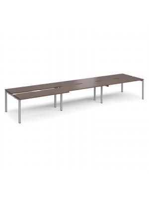 Adapt sliding top triple back to back desks 4800mm x 1200mm - silver frame, walnut top