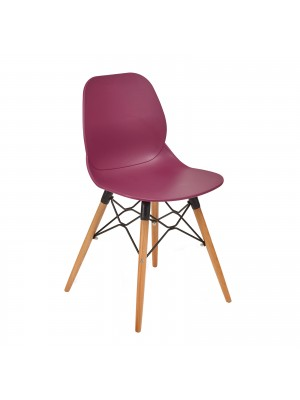 Strut multi-purpose chair with wooden 4 leg frame and black steel detail - plum