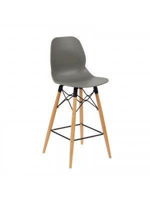 Strut multi-purpose stool with wooden 4 leg frame and black steel detail - grey