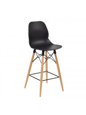 Strut multi-purpose stool with natural oak 4 leg frame and black steel detail - black