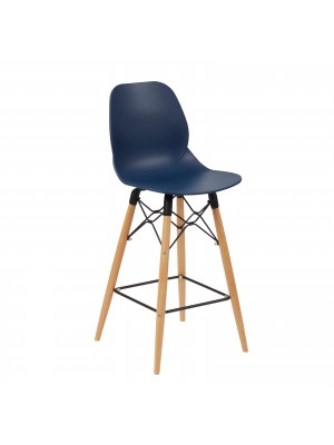 Strut multi-purpose stool with wooden 4 leg frame and black steel detail - navy blue