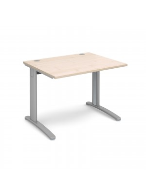 TR10 straight desk 1000mm x 800mm - silver frame, maple top