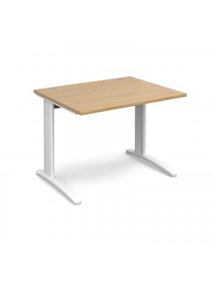 TR10 straight desk 1000mm x 800mm - white frame, oak top