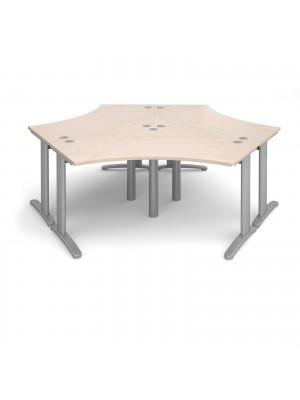TR10 120 degree three desk cluster 2332mm x 2020mm - silver frame, maple top
