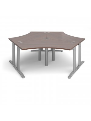 TR10 120 degree three desk cluster 2332mm x 2020mm - silver frame, walnut top