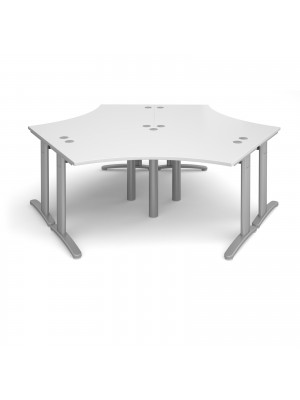 TR10 120 degree three desk cluster 2332mm x 2020mm - silver frame, white top