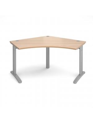 TR10 120 degree desk 1000mm x 1000mm x 600mm - silver frame, beech top