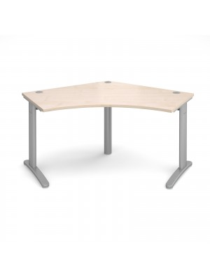 TR10 120 degree desk 1000mm x 1000mm x 600mm - silver frame, maple top