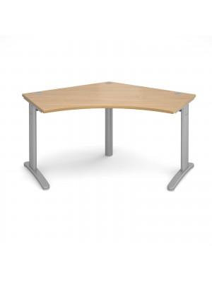TR10 120 degree desk 1000mm x 1000mm x 600mm - silver frame, oak top