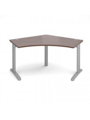 TR10 120 degree desk 1000mm x 1000mm x 600mm - silver frame, walnut top
