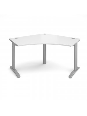 TR10 120 degree desk 1000mm x 1000mm x 600mm - silver frame, white top