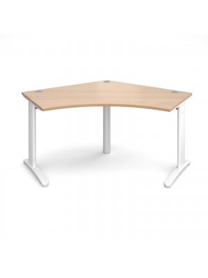 TR10 120 degree desk 1000mm x 1000mm x 600mm - white frame, beech top